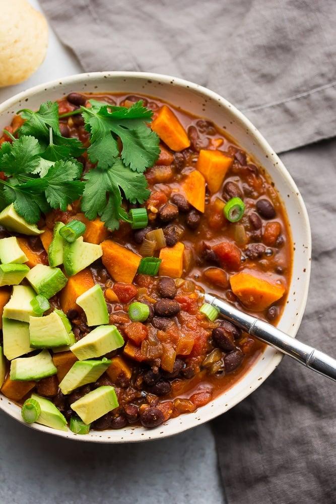 close of up a bowl of sweet potato black bean chili