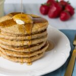 Freezer Whole Grain Pancakes- Made with spelt flour and rolled oats. Super fluffy and satisfying!
