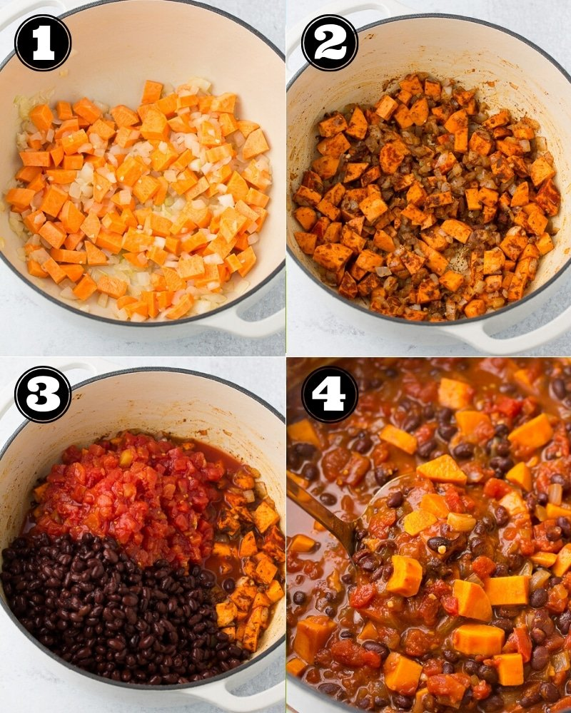 collage of how to make chili