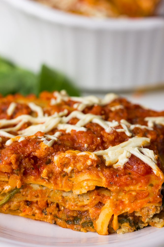 The Best Vegan Lasagna: with a Tofu-Cashew Ricotta, lots of fresh spinach, and a protein packed marinara sauce.