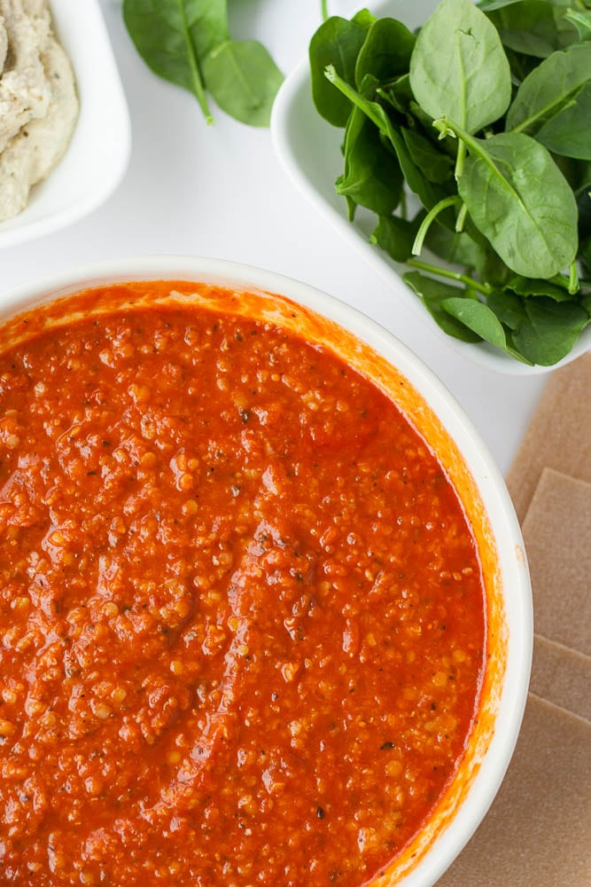bowl of red lentil marinara for vegan lasagna