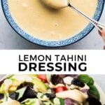 pinterest collage of tahini dressing with text