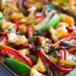 vegetarian fajitas in pan, close up from side.