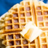 pinterest image with text of waffles with no gluten or dairy