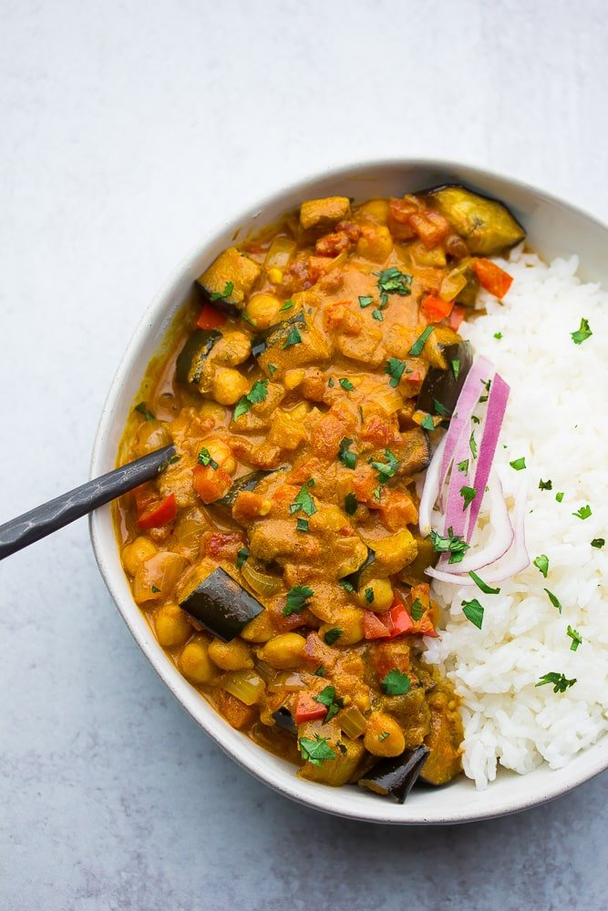 bowl with rice and curry