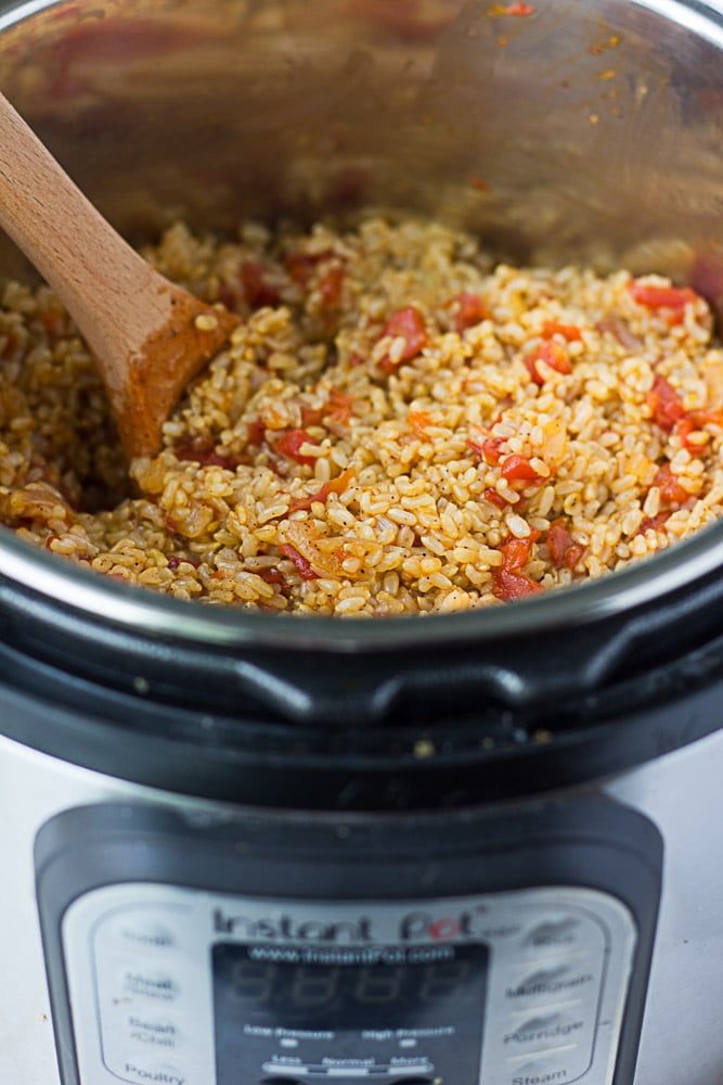 Instant Pot Spanish Rice in the instant pot
