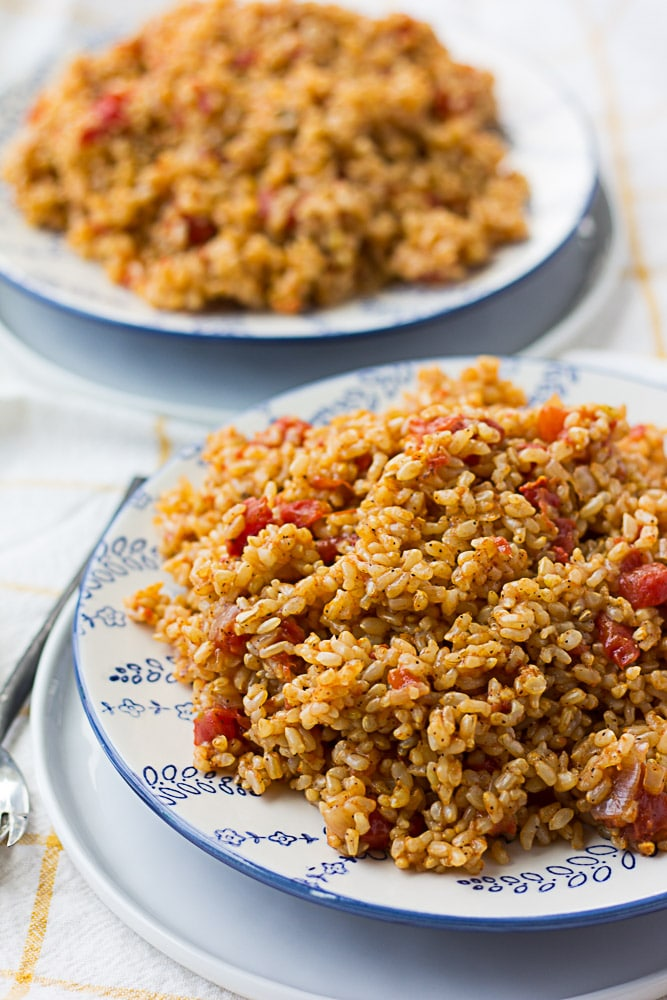 Two plates of Instant Pot Spanish Rice