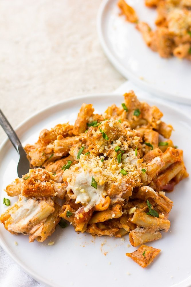 Vegan Baked Ziti on two plates