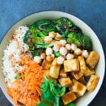Peanut Buddha Bowl with chewy, crispy tofu and roasted broccoli.