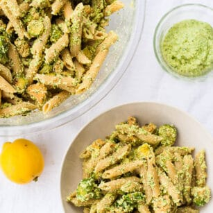 Oil-free pesto pasta with roasted brussel sprouts and tempeh sausage.