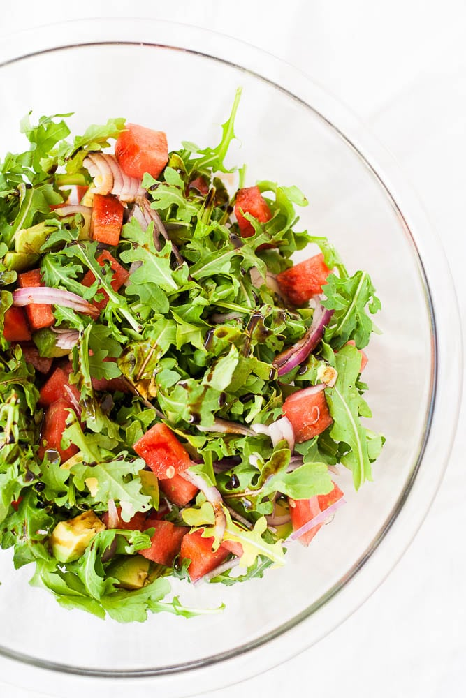 Watermelon Arugula Salad with avocado and balsamic.