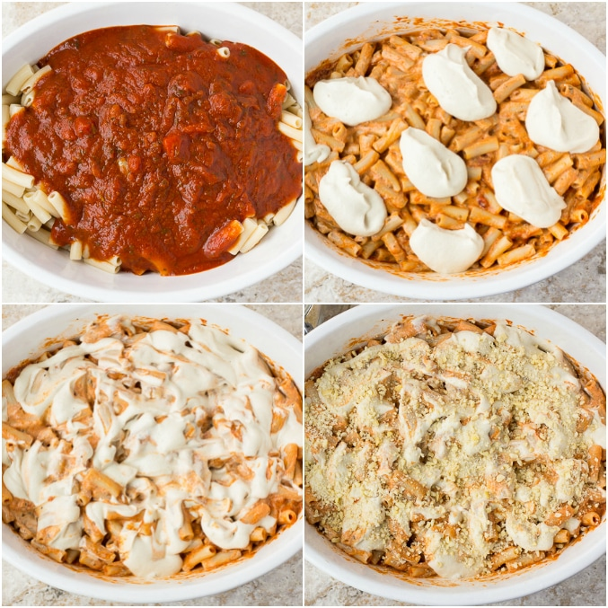 collage of process of making vegan baked ziti