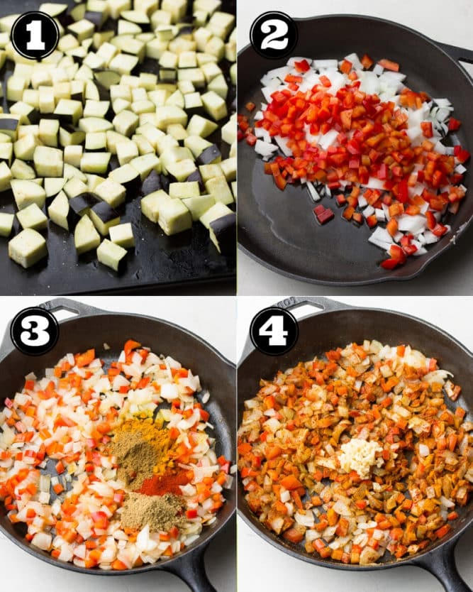 collage of how to make curry with roasted eggplant