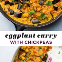 pinterest collage with text of curry with chickpeas