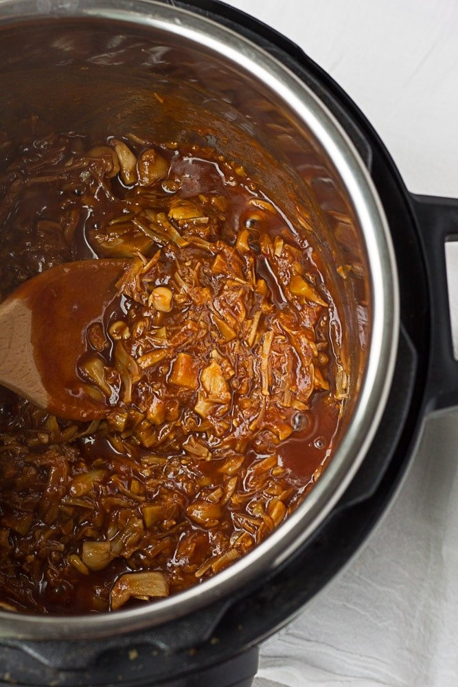 Instant Pot Pulled BBQ Jackfruit in the instant pot