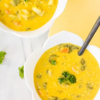 Creamy Red Lentil Lemon Soup- Dairy free, vegan, low fat soup that is bright and full of flavor.