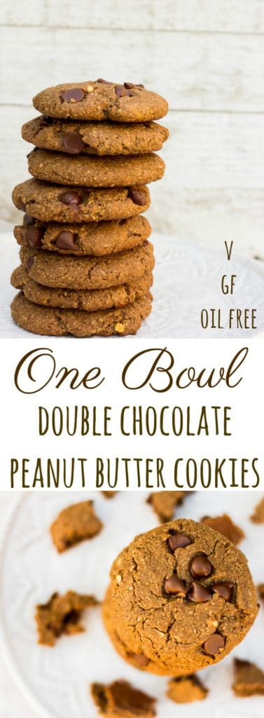 One Bowl Double Chocolate Peanut Butter Cookies-made in just 1 bowl!