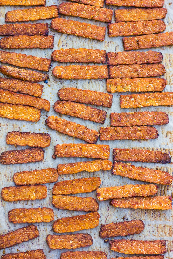 Smoky Baked Tempeh Bacon- Super easy, just slice, marinate and bake to crispy perfection!