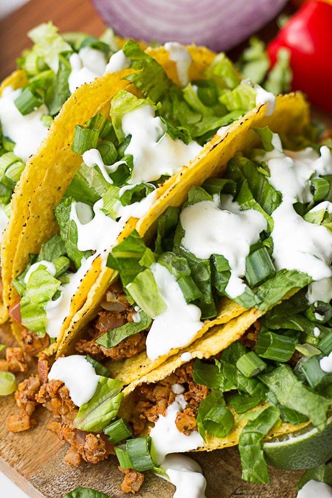 looking sideways at cauliflower tacos
