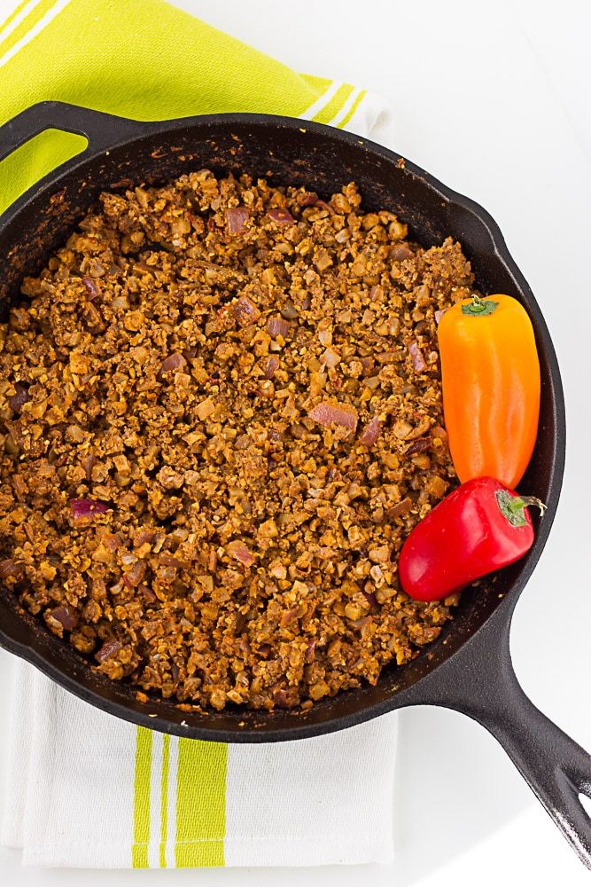 top down shot of cauliflower taco meat in pan