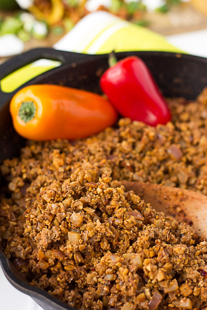 close up of cauliflower taco meat in pan