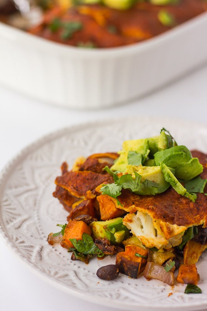 Roasted Vegetable Enchilada Casserole: Oil-free, vegan, and gluten-free delicious enchilada casserole filled with roasted vegetables, black beans and spinach.