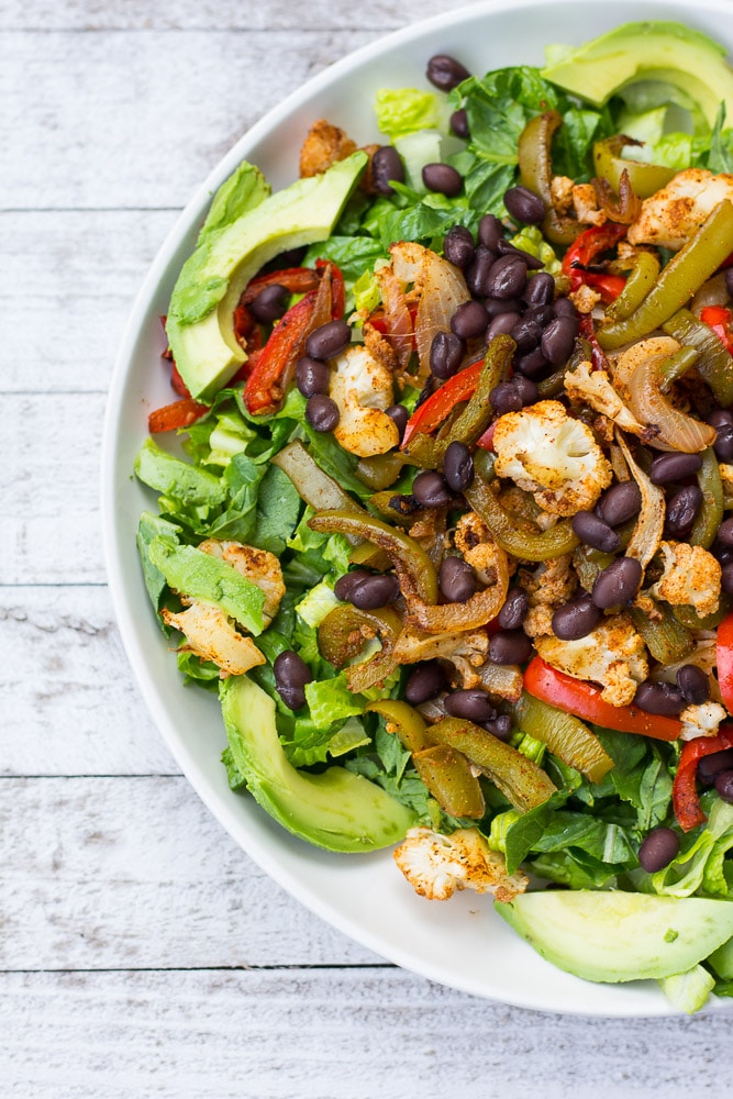 Cauliflower Fajita Salad with Sriracha Hummus Dressing