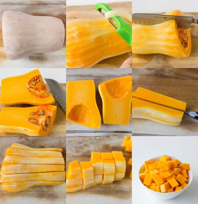 collage of how to cut butternut squash