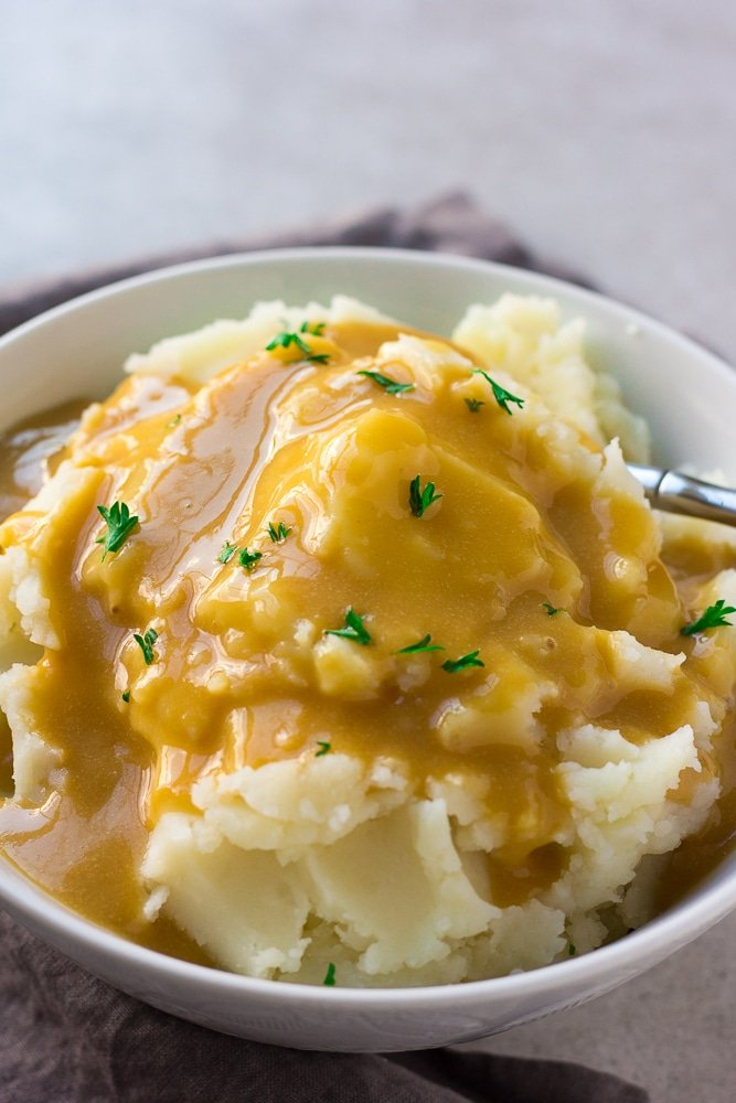 easy vegan gravy over mashed potatoes close up