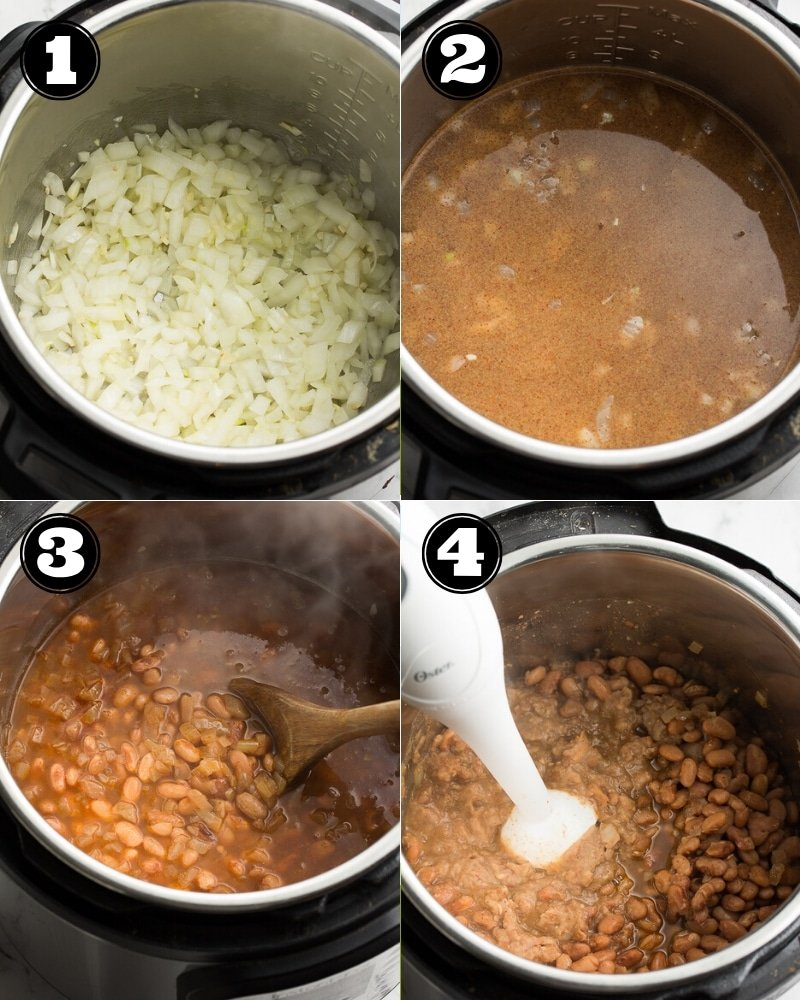 collage of how to make refried beans in the instant pot, step by step