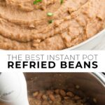 pinterest collage of refried beans with text