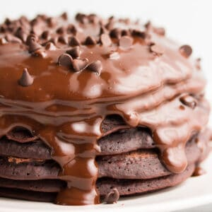 square image of stack of chocolate pancakes