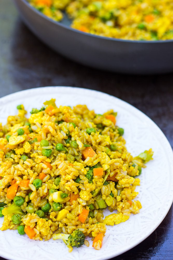 Golden Fried Rice- Vegan fried rice with scrambled tofu and lots of fresh veggies!