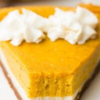 showing inside texture of pumpkin layered cheesecake close up