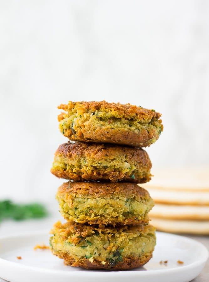 5 vegan falafel stacked high