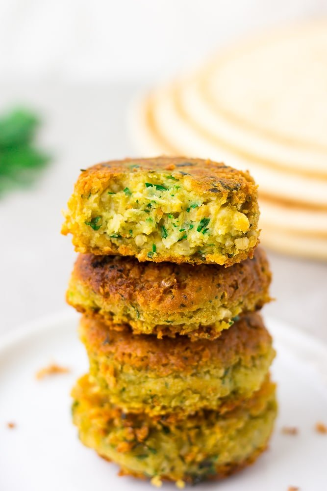 4 vegan falafel stacked
