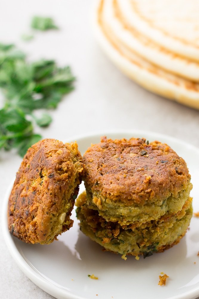 3 vegan falafel on a plate