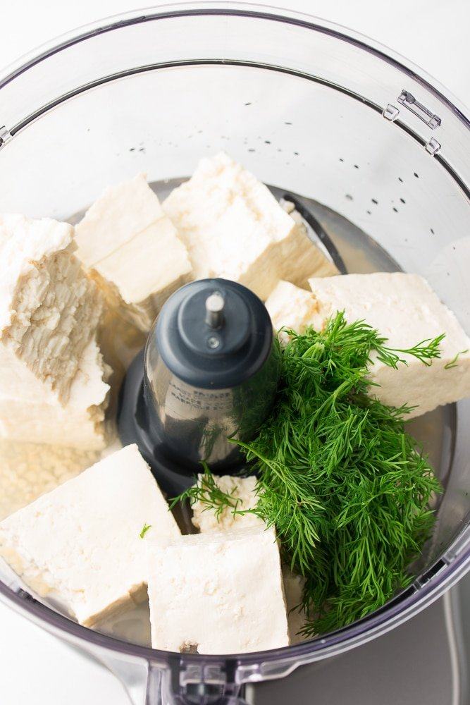 food processor with tofu and dill, not blended yet