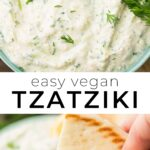 pinterest collage vegan tzatziki with text