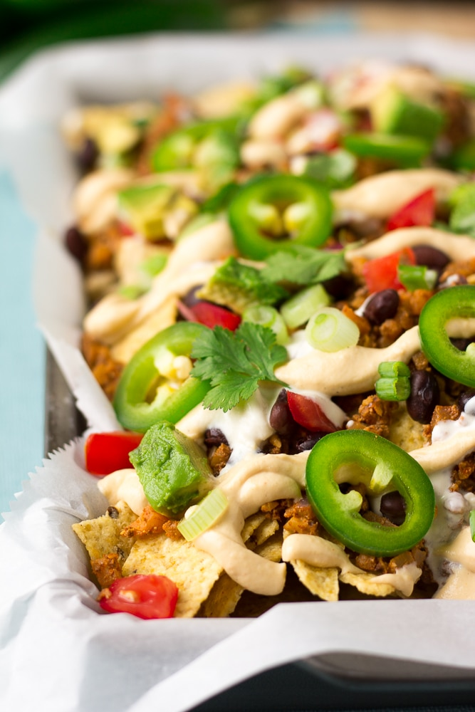 looking from the side of plate of vegan nachos
