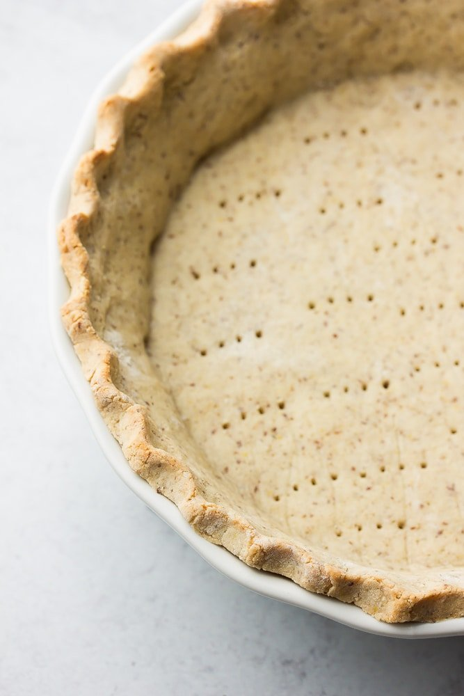 close up image of cooked pie crust showing texture