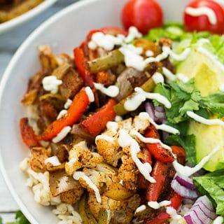 Cauliflower Fajita Mexican Bowl | Nora Cooks