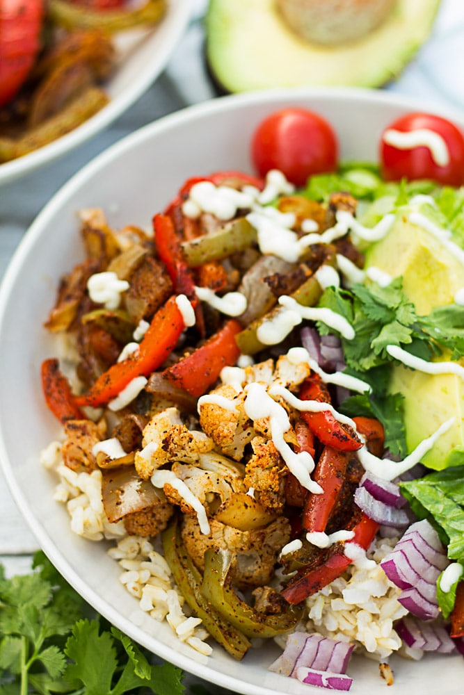 Cauliflower Fajita Mexican Bowl   Nora Cooks