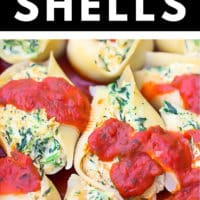 Pinterest collage with text for vegan stuffed shells