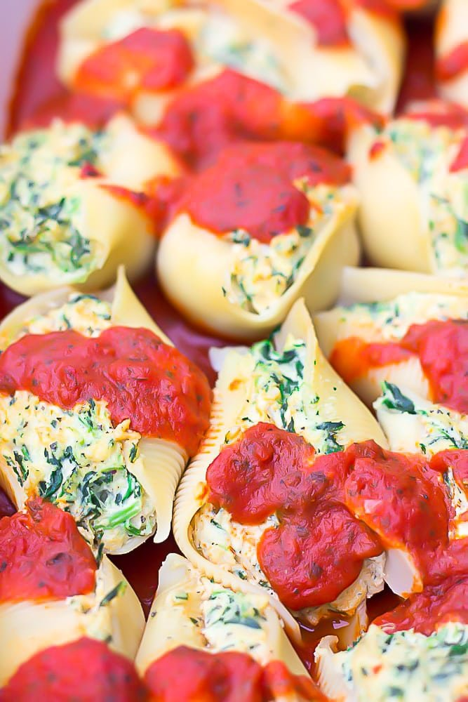 close up of stuffed shells made vegan in a dish