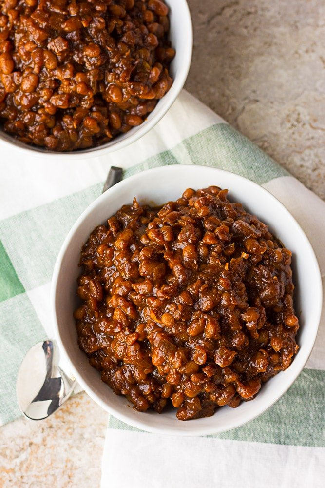 Two bowls of vegan baked beans.