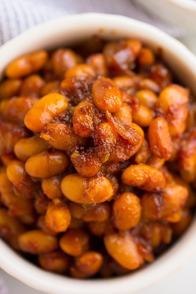 close up of baked beans in a bowl
