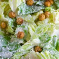 close up of vegan caesar salad