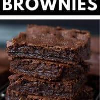 Pinterest image with text box for chewy brownies vegan