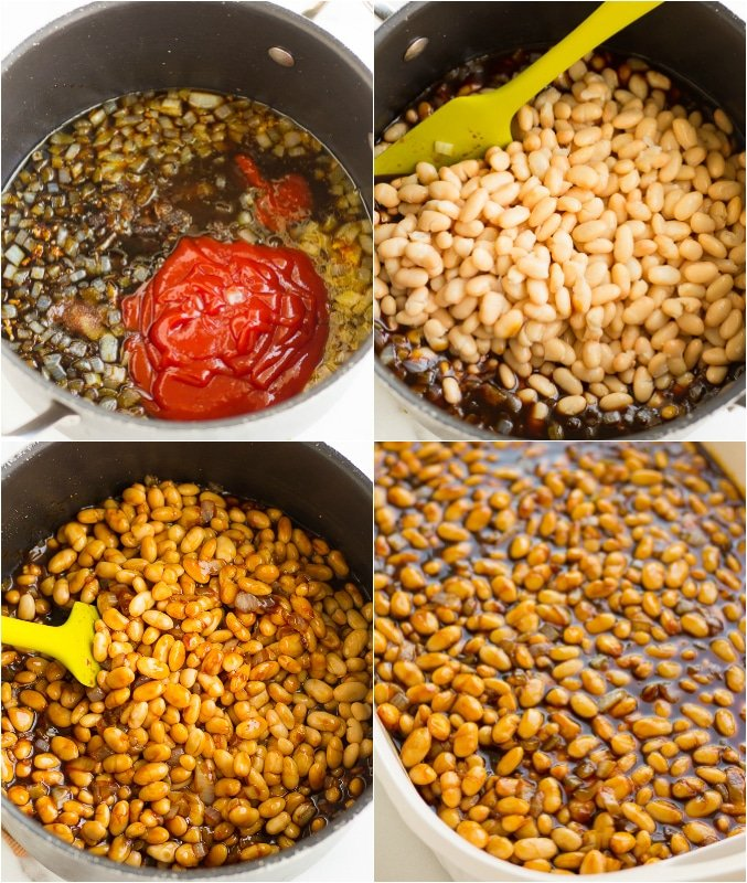 collage of how to make vegan baked beans